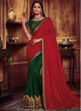 Green and Red Ceremonial Art Silk Designer Half N Half Saree