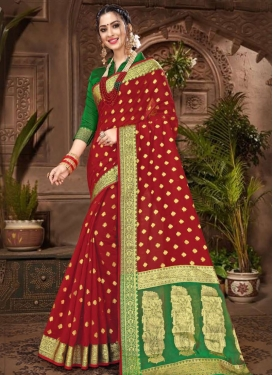 Green and Red Chanderi Cotton Designer Contemporary Saree