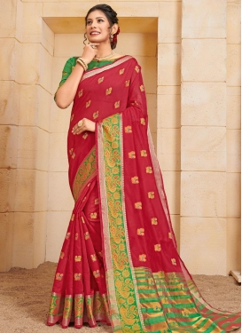 Green and Red Cotton Trendy Classic Saree
