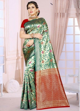 Green and Red Designer Contemporary Saree For Casual