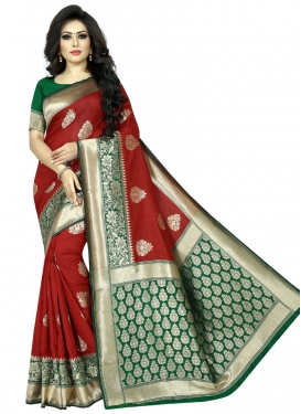 Green and Red Designer Contemporary Style Saree