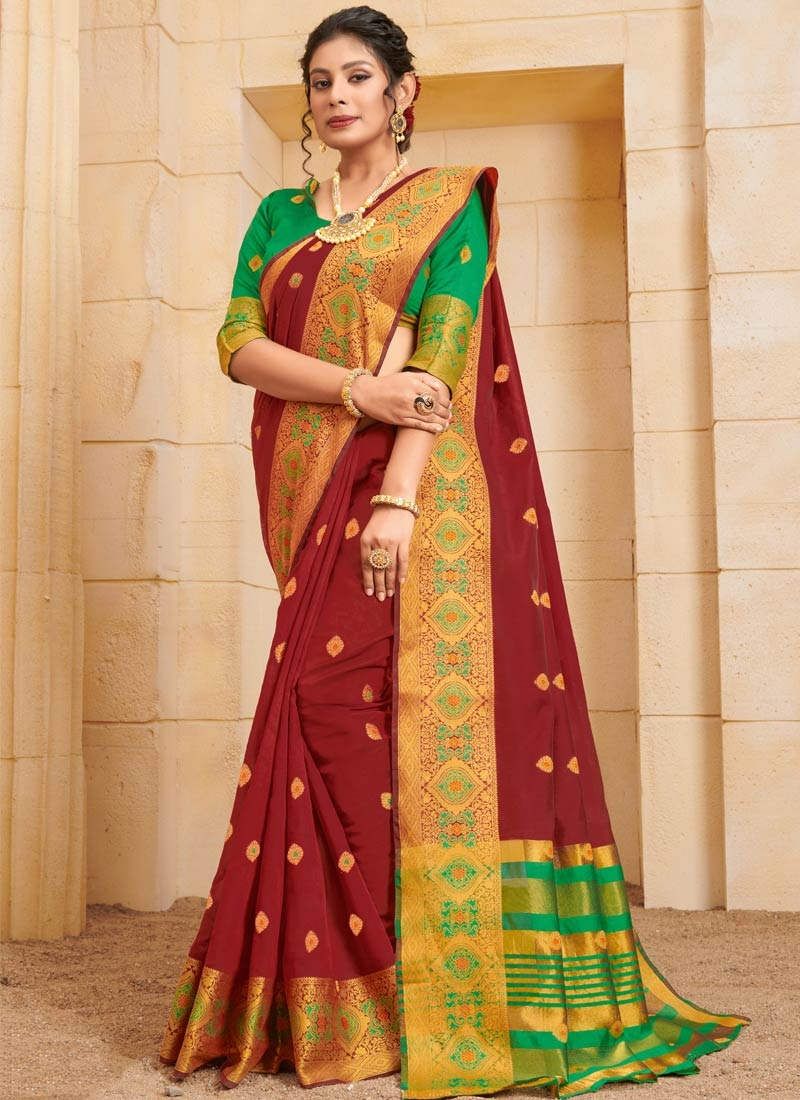 Green and Red Designer Traditional Saree