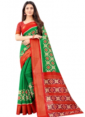 Green and Red Designer Traditional Saree For Casual