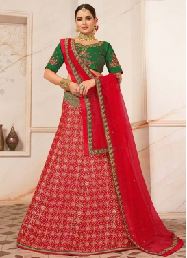 Green and Red Embroidered Work A - Line Lehenga