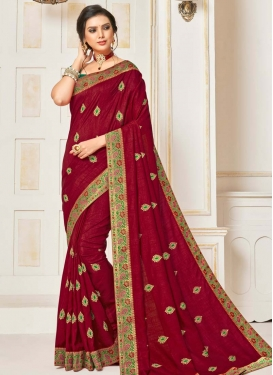 Green and Red Embroidered Work Designer Contemporary Style Saree