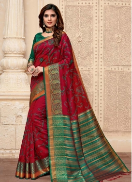 Green and Red Embroidered Work Trendy Classic Saree