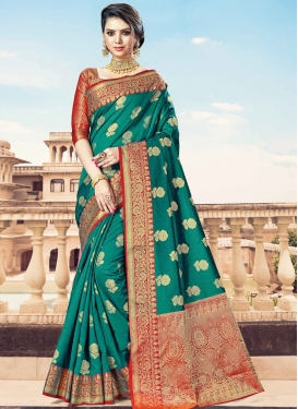 Green and Red Handloom Silk Traditional Designer Saree