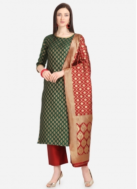 Green and Red Jacquard Palazzo Style Pakistani Salwar Suit