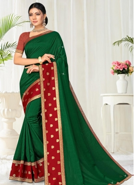 Green and Red Lace Work Vichitra Silk Contemporary Style Saree