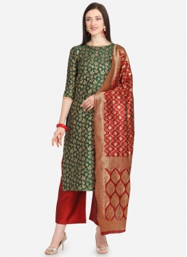 Green and Red  Palazzo Style Pakistani Salwar Kameez