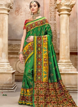 Green and Red Patola Silk Trendy Classic Saree