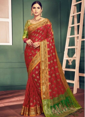 Green and Red Thread Work Classic Saree