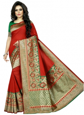 Green and Red Thread Work Traditional Designer Saree