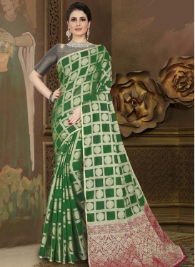 Green and Red Traditional Designer Saree For Casual