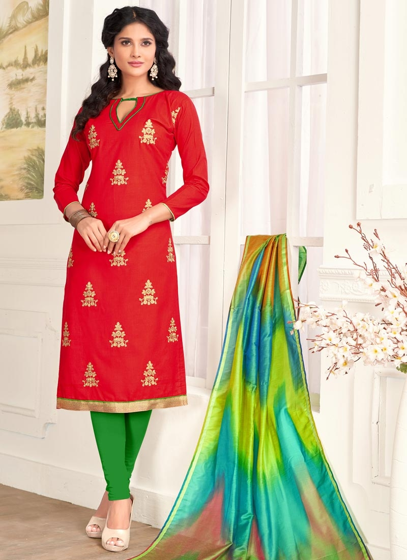 Green and Red Trendy Churidar Salwar Suit For Casual