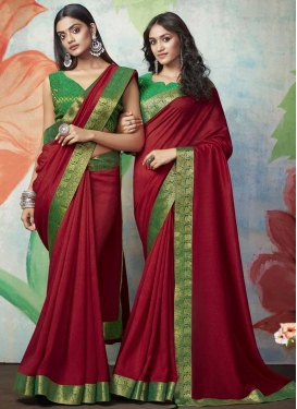 Green and Red Trendy Classic Saree