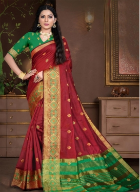 Green and Red Trendy Classic Saree For Casual