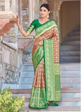 Green and Red Woven Work Art Silk Designer Contemporary Saree