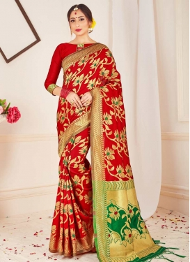 Green and Red Woven Work Contemporary Style Saree
