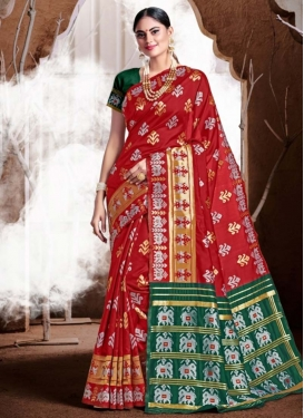 Green and Red Woven Work Designer Contemporary Saree