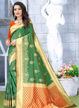 Green and Red Woven Work Traditional Designer Saree