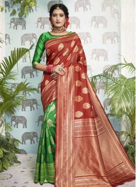 Green and Red Woven Work Trendy Classic Saree