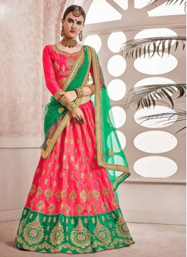 Green and Rose Pink Art Silk A - Line Lehenga For Ceremonial