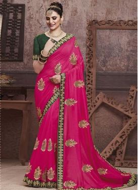 Green and Rose Pink Art Silk Designer Contemporary Saree