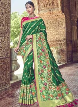 Green and Rose Pink Banarasi Silk Classic Saree
