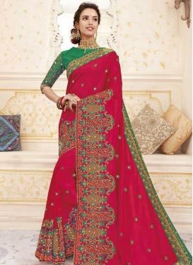 Green and Rose Pink Chanderi Silk Designer Contemporary Style Saree