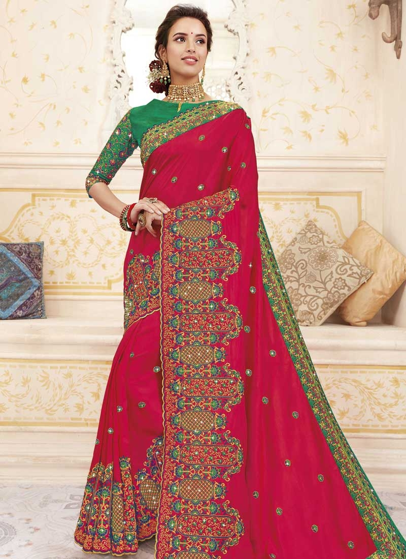 Green and Rose Pink Chanderi Silk Designer Contemporary Style Saree