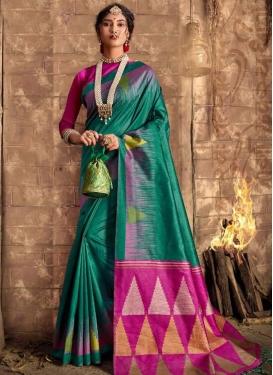 Green and Rose Pink Designer Contemporary Saree