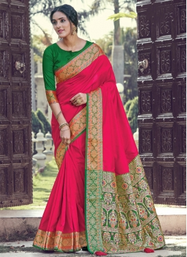 Green and Rose Pink Designer Contemporary Saree For Ceremonial