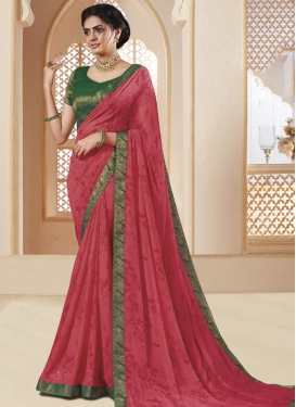Green and Rose Pink Designer Contemporary Style Saree