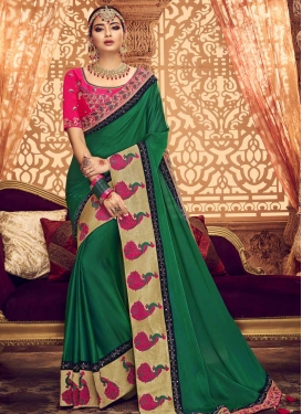 Green and Rose Pink Embroidered Work Classic Saree