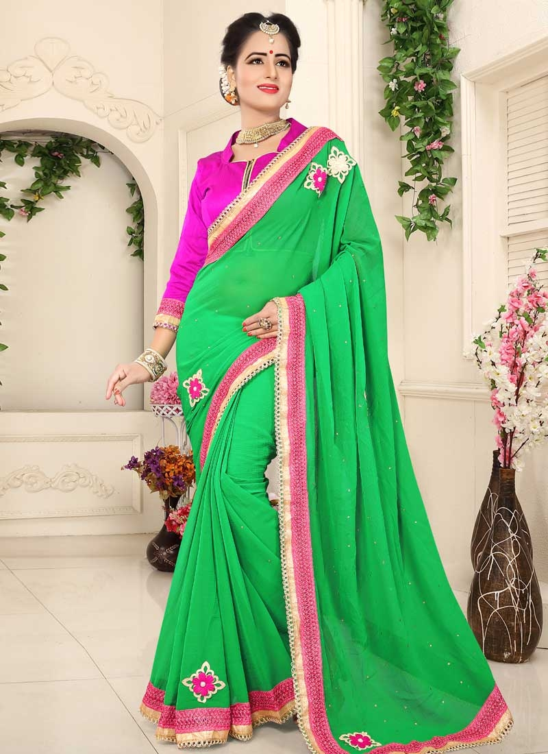 Green and Rose Pink Lace Work Trendy Classic Saree