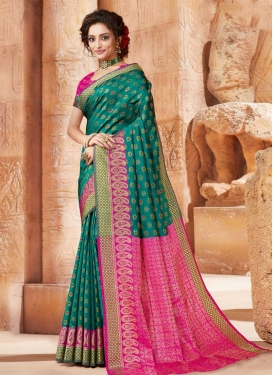 Green and Rose Pink Stone Work Traditional Designer Saree
