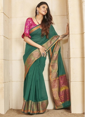 Green and Rose Pink Woven Work Designer Contemporary Saree