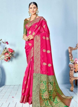 Green and Rose Pink Woven Work Trendy Classic Saree