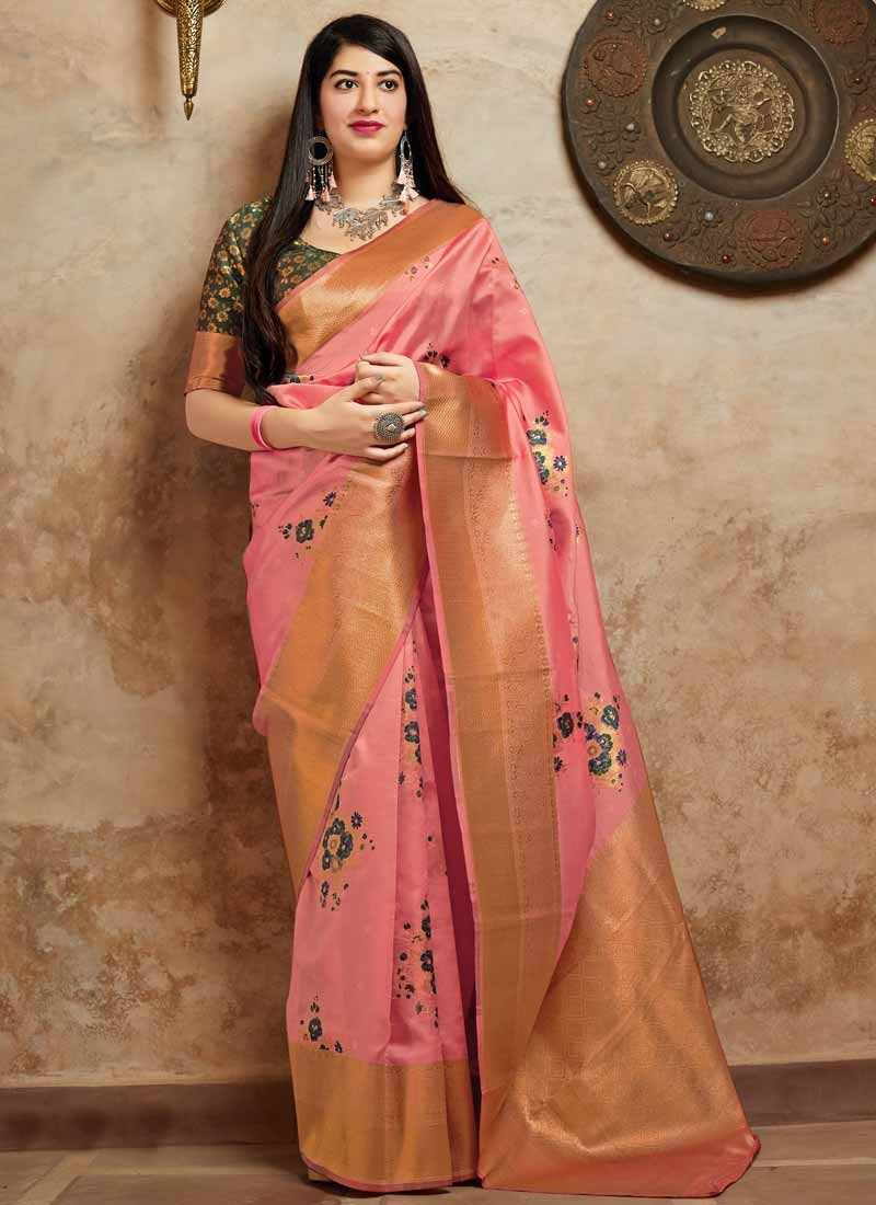 Green and Salmon Banarasi Silk Trendy Saree