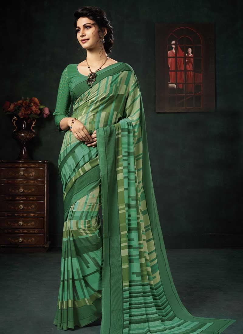 Green and Sea Green Crepe Silk Trendy Classic Saree