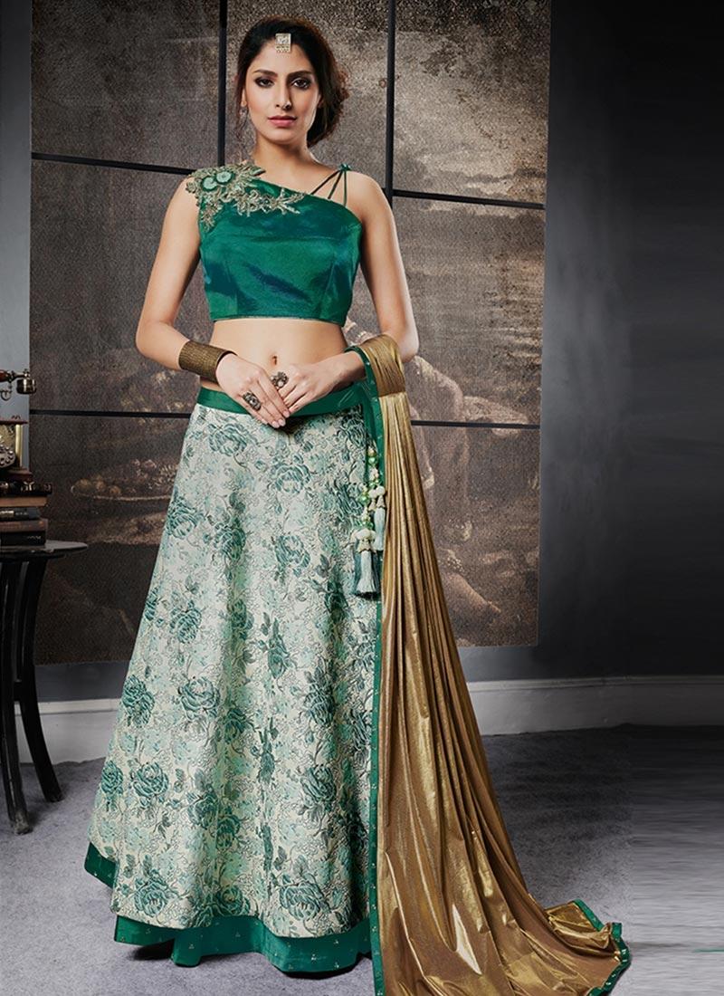 Green and Sea Green Designer Classic Lehenga Choli