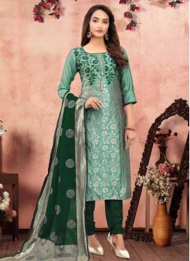 Green and Sea Green Woven Work Trendy Pakistani Salwar Kameez