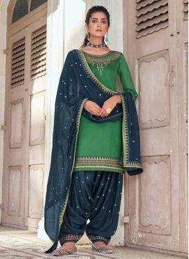 Green and Teal Designer Semi Patiala Suit