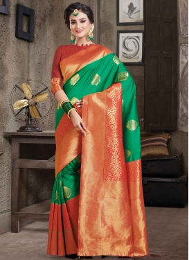 Green and Tomato Art Silk Trendy Saree