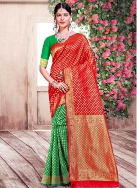 Green and Tomato Half N Half Saree For Casual