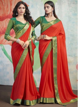 Green and Tomato Lace Work Traditional Designer Saree