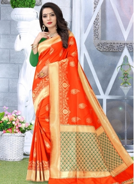 Green and Tomato Woven Work Contemporary Style Saree
