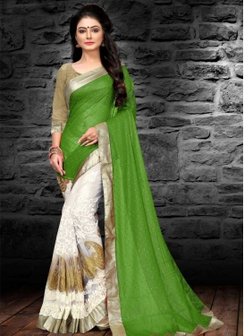 Green and White Half N Half Saree