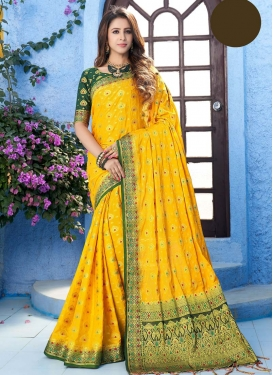 Green and Yellow Art Silk Designer Contemporary Saree